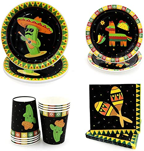 Fiesta Party Supplies Mexican Theme Table Clothes Plates Napkins and Cups 8 Guests for Cinco De Mayo Taco Home Party