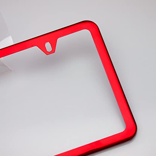 Amazon.com: Circle Cool Red Chrome Powder Coated Stainless Steel License Plate Slim Two Hole Frame Holder Bracket: Automotive