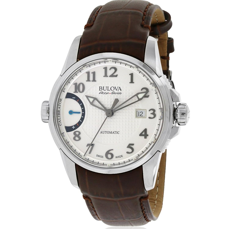 Bulova accuswiss Kalibrierer weiß Zifferblatt automatische Herren-Armbanduhr 63b171