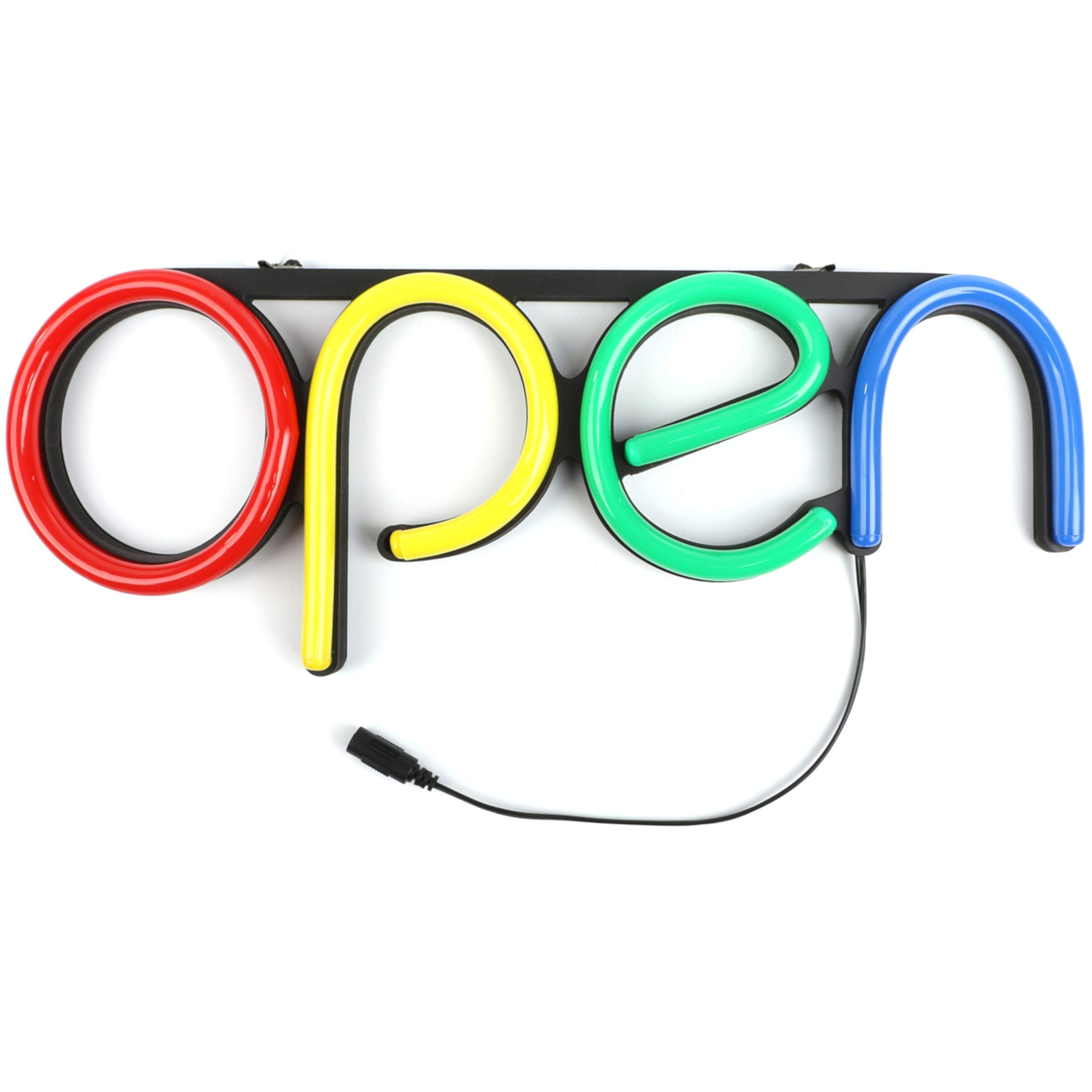 LED Open Sign for Business with ON/Off Switch | Very Bright NEON Signs for Storefronts (Red-Yellow-Green-Blue, 15.7 x 5.9 Inches)