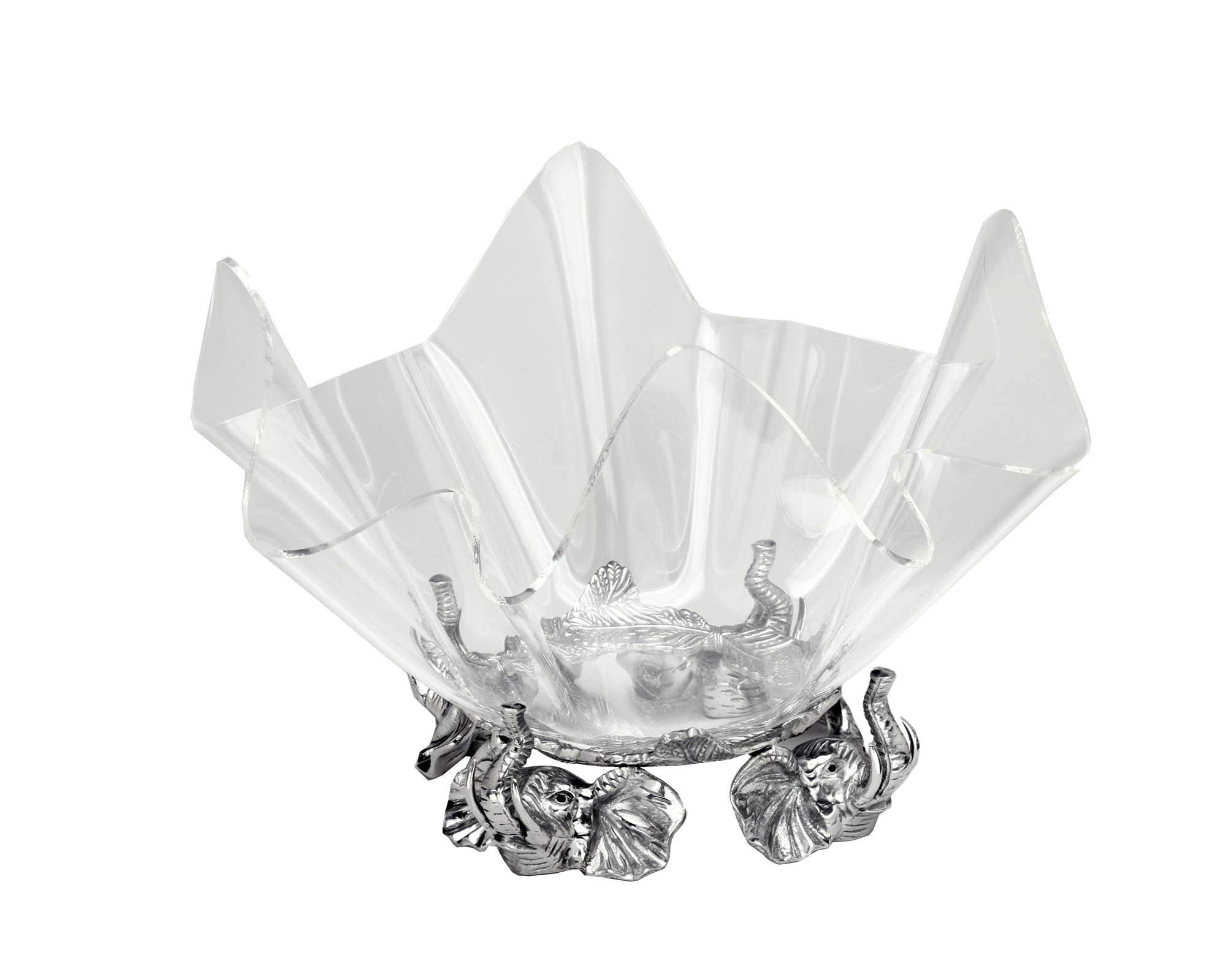 Arthur Court Designs Aluminum Elephant Stand with 14'' Acrylic Serving Bowl