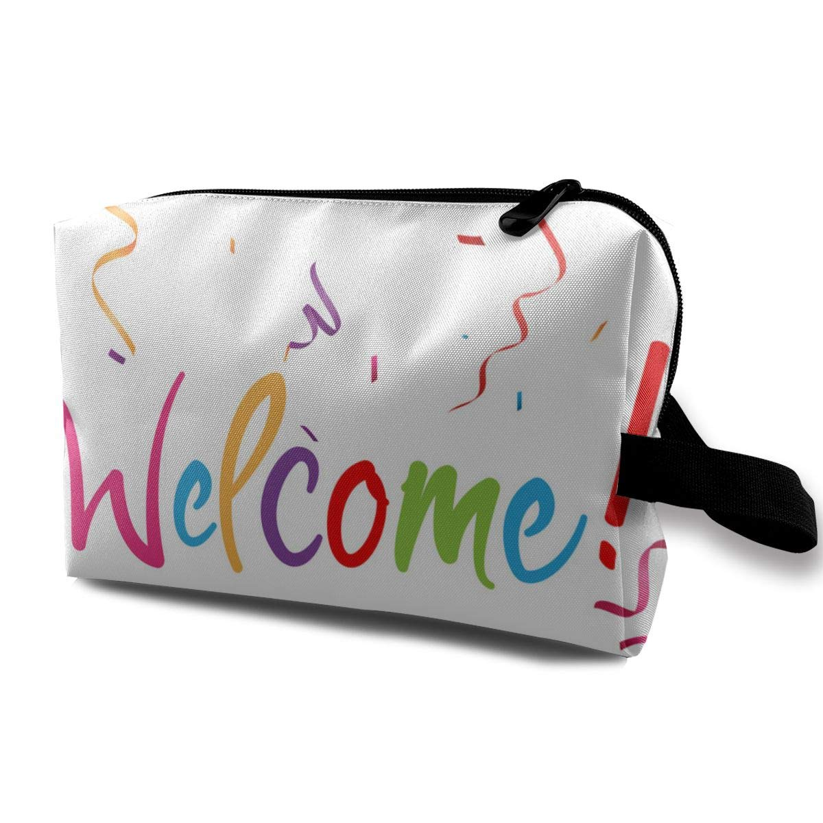 Lofout Welcome Sign with Confetti Cosmetic Bags Small Makeup Clutch Pouch Cosmetic and Toiletries Organizer Bag Women Makeup Travel Storage 10 X 6.3 X 5 Inch