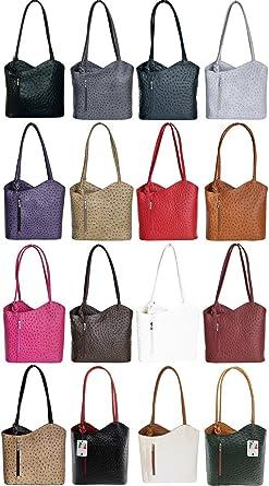 bad137f8a41fe Handbag Bliss Italian Leather Ostrich Print Shoulder Bag Handbag Backpack  Rucksack
