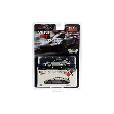 Porsche 911 GT2 RS Weissach Package GT Silver Metallic with Carbon Stripes Ltd Ed 3,600 pcs 1/64 Diecast Model Car by True Scale Miniatures MGT00063: Toys & Games