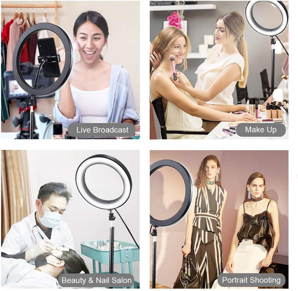 Makeup XINYAN LED Ring Light 9 with Phone Holder for YouTube Video,Ring Light 3 Light Dimmable for Streaming Photography Compatible with iPhone Android