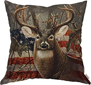 Moslion Throw Pillow Cover Case Deer Hunting Season with USA Flag Cotton Linen Cushion Covers for Couch/Sofa/Kitchen/Car/Boy Gilrs Bedroom Livingroom 18 x 18 inch Pillow case