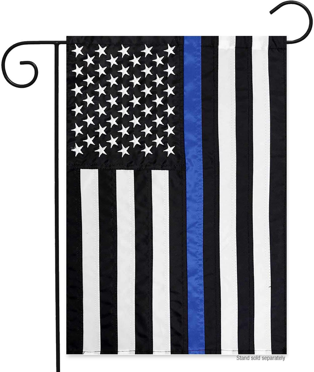 RODAOA Embroidered Thin Blue Line Police Garden Flag- 12x18 Double Sided Blue Stripes American Yard Flags Banner Honoring Law Enforcement Officers Outdoor Indoor (Embroidered)