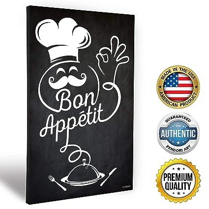 Amazon.com: Zendori Art Bon Appetit French Italian Fat Chef Kitchen ...