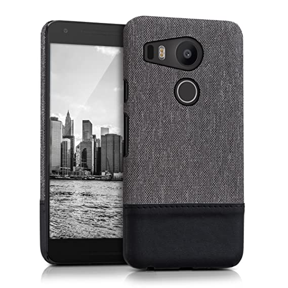 quality design 8163d f0ae5 kwmobile hardcase Canvas Cover for LG Google Nexus 5X with Imitation  Leather appliqués - backcover case Protective case Cover in Grey/Black