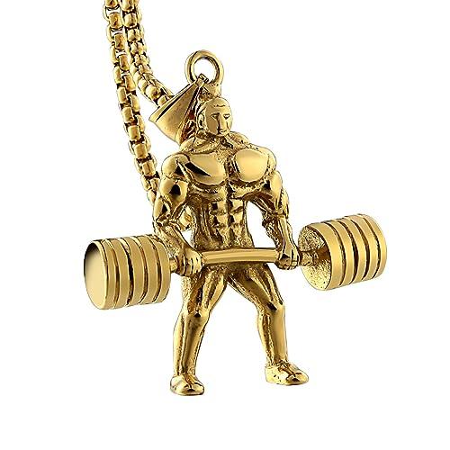 Aienid necklace gold men 18k women pendant male fitness hercules aienid necklace gold men 18k women pendant male fitness hercules barbell weightlifting pendants chains 55cm aloadofball Image collections