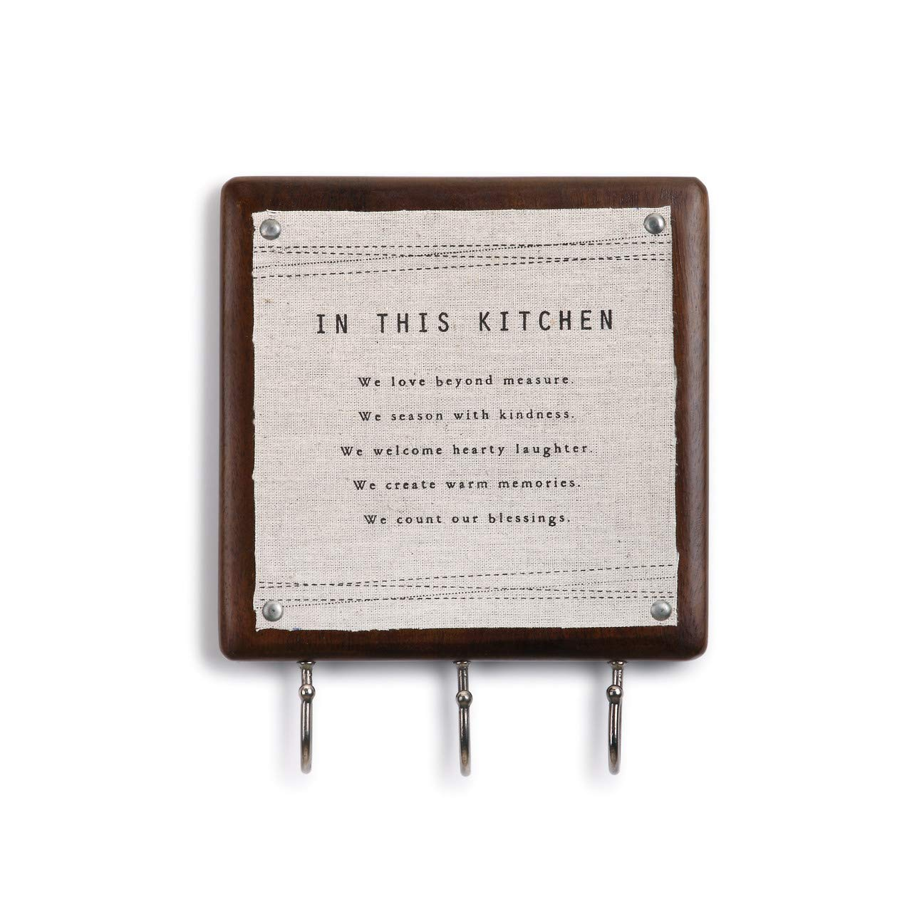 DEMDACO in This Kitchen Wood and Canvas 7 x 8.5 Wall Sign Plaque with Hooks