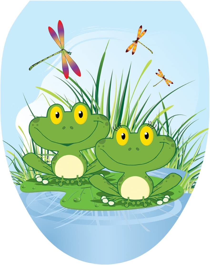Toilet Tattoos, Toilet Seat Cover Decal,Floating Frogs, Size Elongated