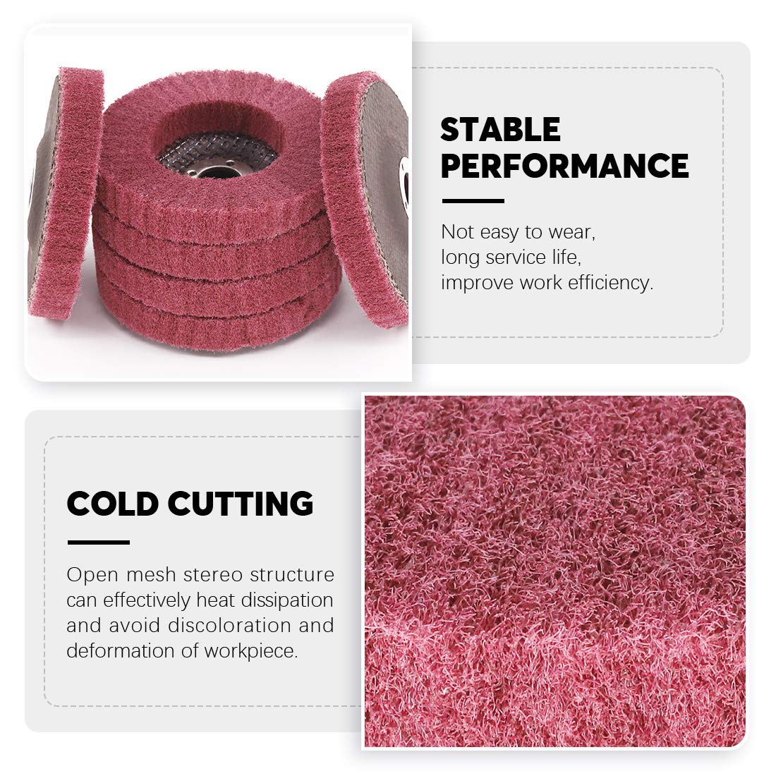Rustark 6 Pcs 4Nylon Fiber Flap Disc Abrasive Flap Wheel Scouring Pad Grinding Wheels for Angle Grinder 240 Grit Nylon Polishing Discs for Marble Wood Metal Sanding Buffing Pads