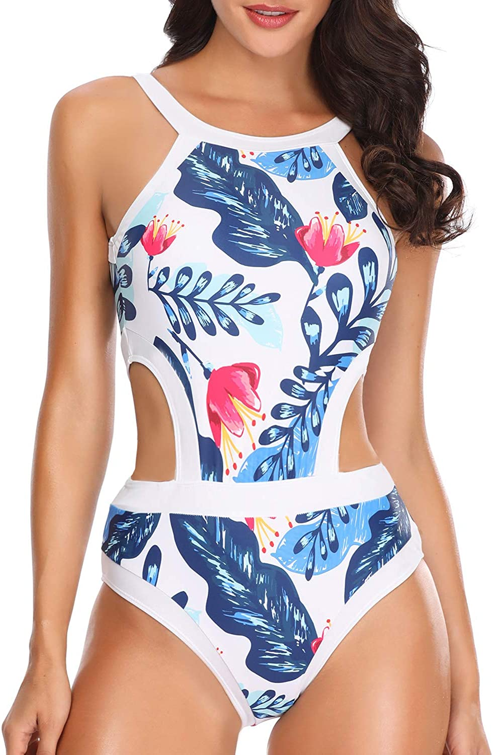 Holipick Women One Piece Swimsuit Cutout High Neck Bathing Suit Floral Printed Bathing Suits