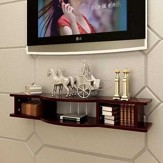 2 Nivel Pared Consola para TV,Madera Flotante TV Mueble Gabinete ...