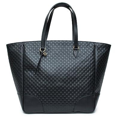9d44a23028f0 Gucci Emily Guccissima Med Margaux Black Leather Shoulder Handbag Bag Italy  New