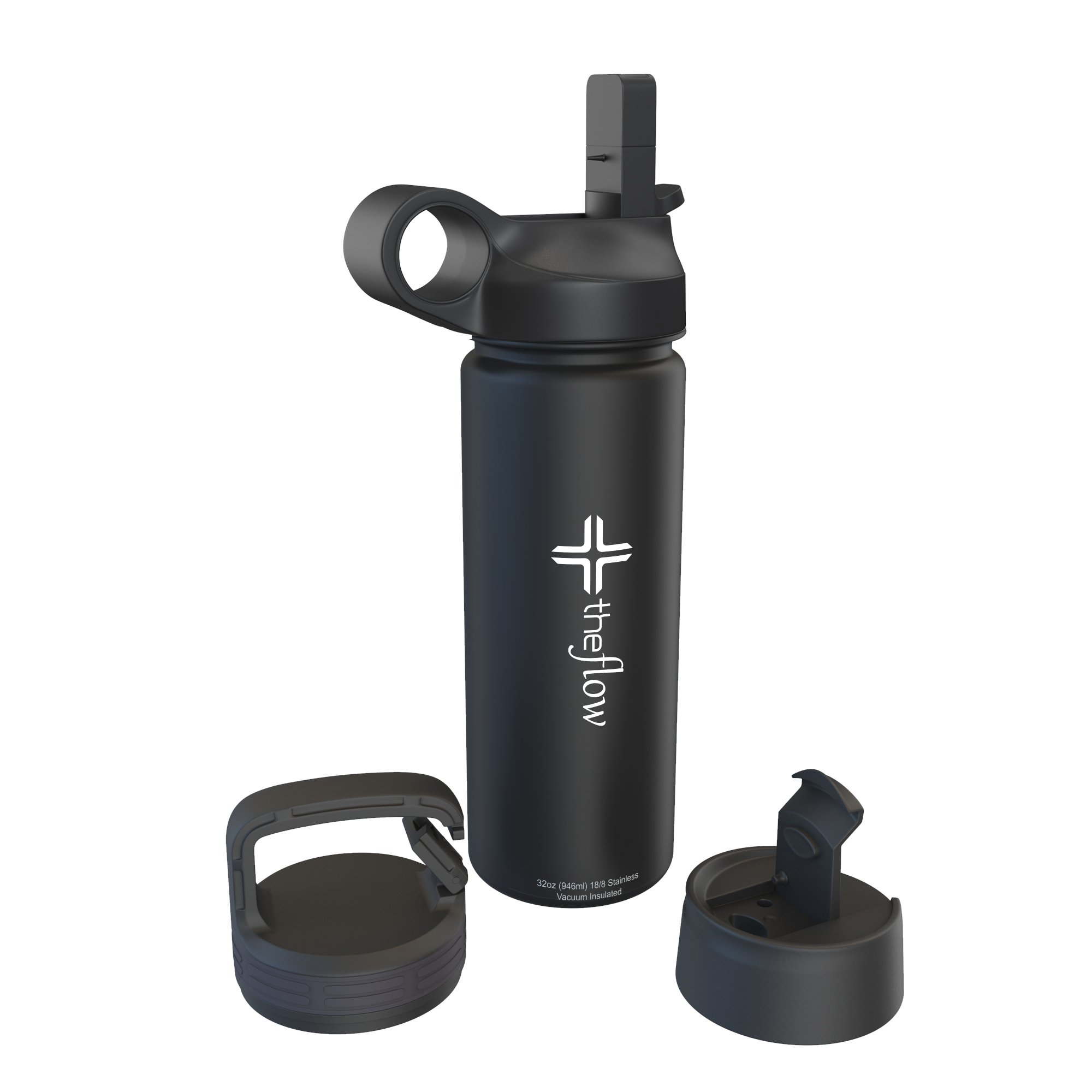 the flow Stainless Steel Water Bottle Double Walled/Vacuum Insulated - BPA/Toxin Free – Wide Mouth Straw Lid, Carabiner Lid Flip Lid, 32 oz.(1 Liter) (Black, 18oz)