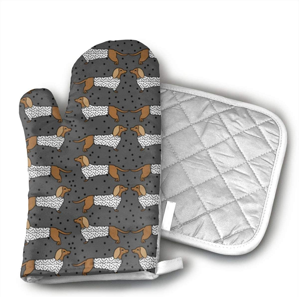 JFNNRUOP Wiener Dog Oven Mitts,with Potholders Oven Gloves,Insulated Quilted Cotton Potholders