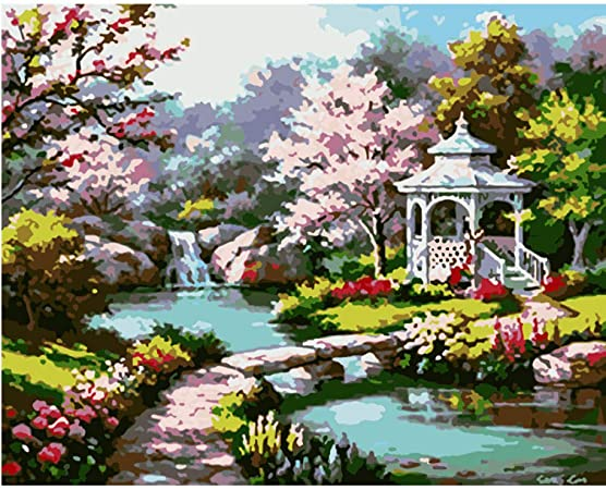 Pintura Digital Diy Hermoso Jardín Gazebo Blanco Paisaje Lienzo Boda Art Deco Imagen Regalo 50Cm * 65Cm: Amazon.es: Hogar