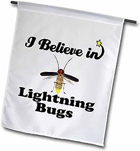 3dRose fl_105323_1 Garden Flag, 12 by 18-Inch, I Believe in Lightning Bugs
