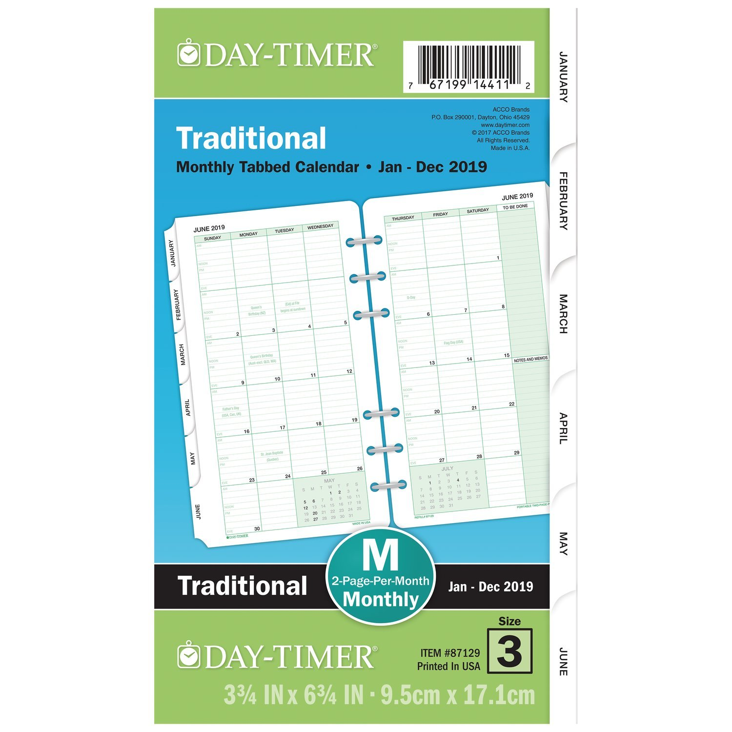 Day-Timer Refill 2019, Two Page per Month, January 2019 - December 2019, 3-3/4'' x 6-3/4'', Loose Leaf, Portable Size, Classic (87129)