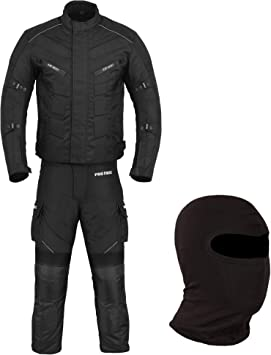 Waterproof Motorbike Gears Motorcycle 2 Suit Jacket /& Trouser 6 Packs Design Most Popular Cordura Fabric CE Armour Full Black X-Small FREE BALACLAVA