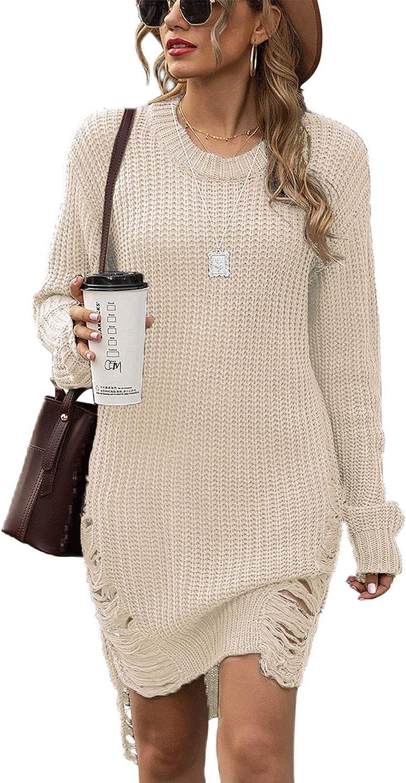 Womens Knitted Long Sweaters Winter Sweatshirt Bodycon Dress Pullover Kintwears