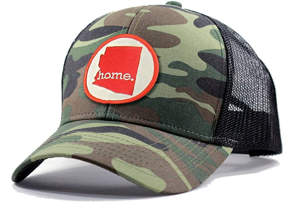 Homeland Tees Mens Arizona Home Patch Army Camo Trucker Hat with Red Patch