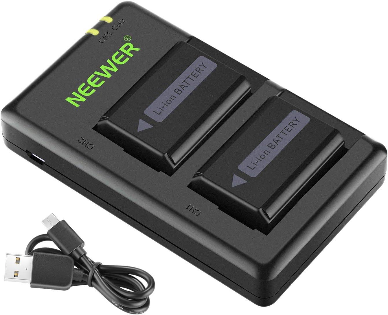 Neewer NP-FW50 - Juego de 2 Cargadores de batería, con Puerto USB, 1100 mA/h, para cámara Sony A6000, A6500, A6300, A6400, A7, A7II, A7RII, A7S, A7S2, A7R, A7R2, A55, A5100 y RX102