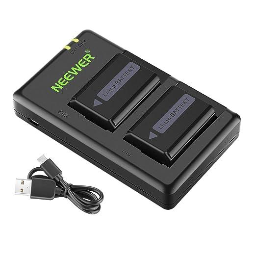 Neewer NP-FW50 - Cargador de batería para cámara Sony A7, A7SII, A7R, A7RII, A6000, A6500, A6300, A55, A5100, RX10 II (2 Unidades, opción de Carga ...
