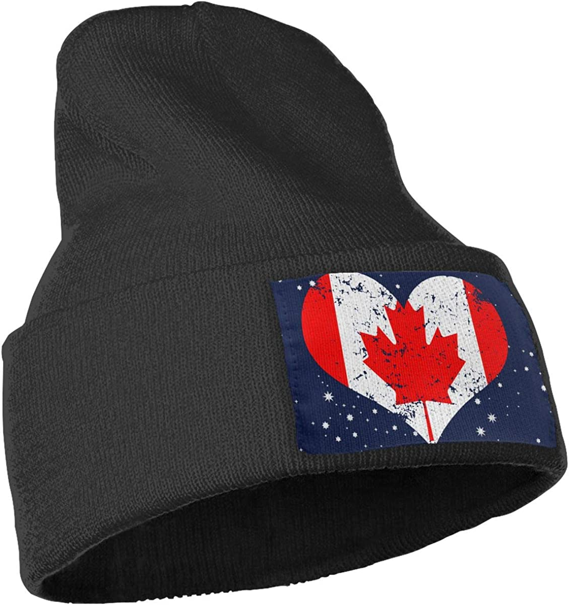 Canada Heart Flag Ski Cap Men /& Women Knitting Hats Stretchy /& Soft Beanie