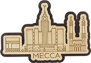 Printtoo Engraved Wooden Decorative Mecca Saudi Arabia Monuments Souvenir Fridge Magnet