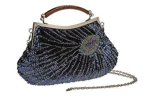Pulama Mujer Bolso de mano cuentas embrague pavo real lentejuelas bolso/cartera/bolso de noche, hecho a mano para boda fiesta: Amazon.es: Zapatos y ...
