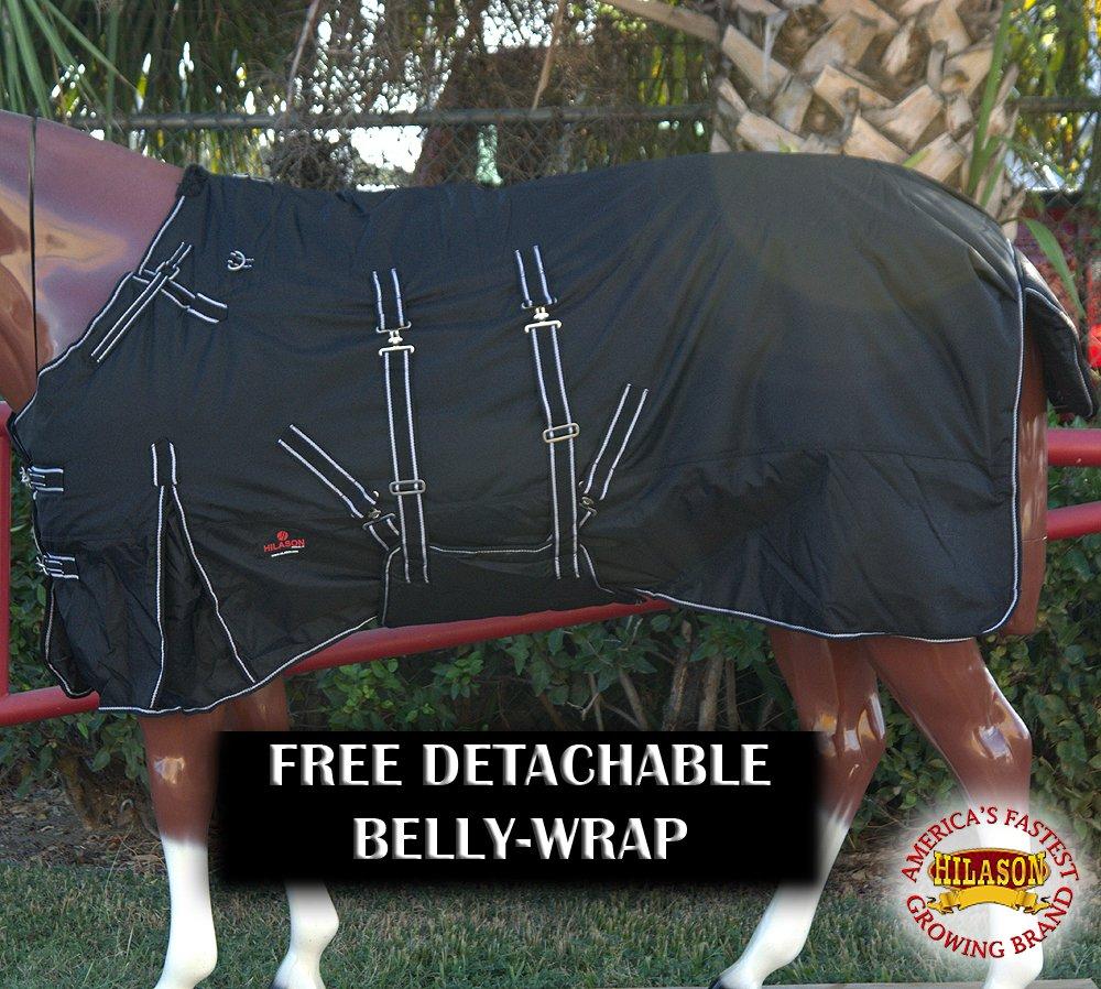 HILASON 82'' WATERPROOF 1600D POLY TURNOUT HORSE WINTER BELLY WRAP BLACK BLANKET