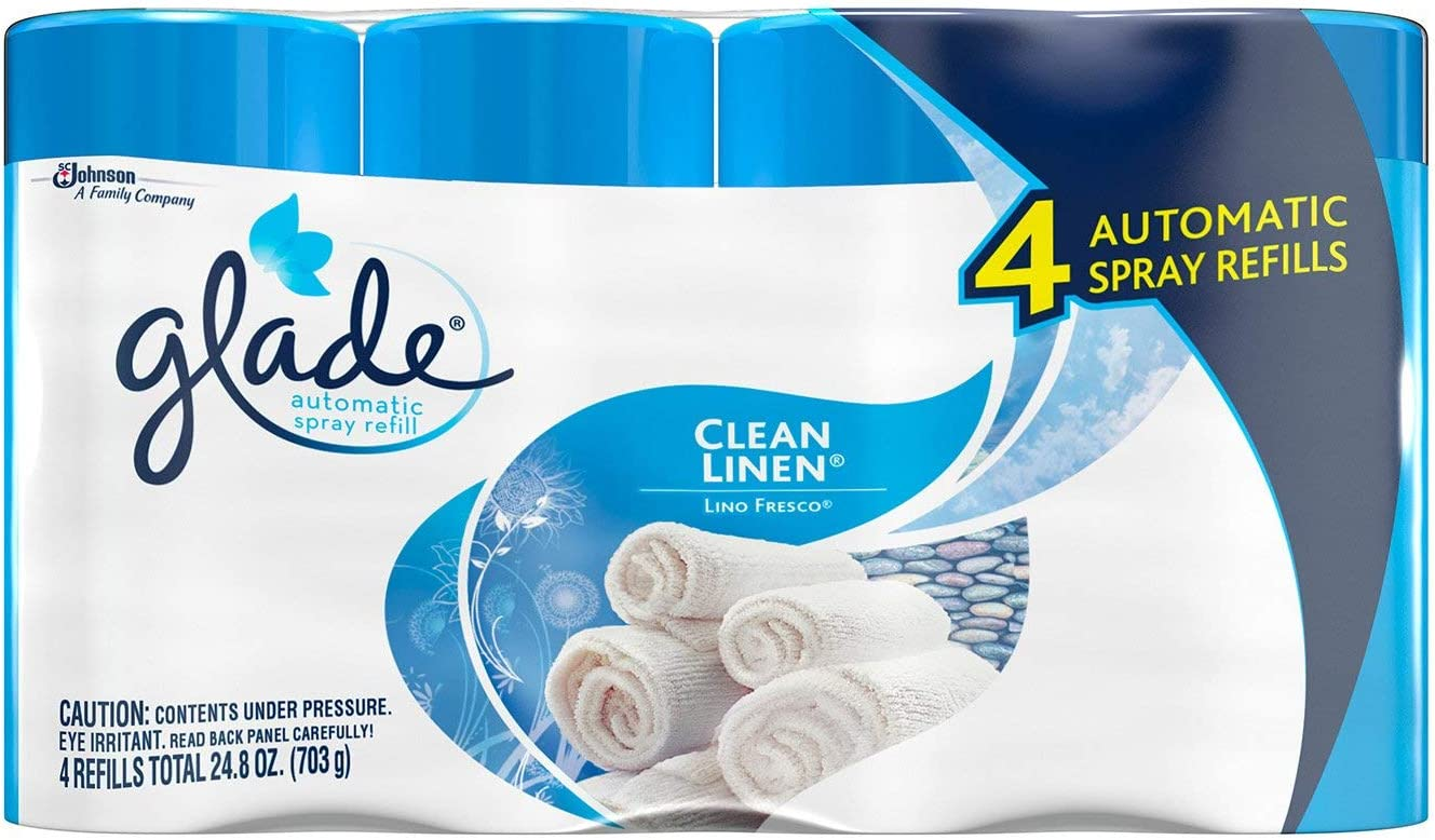 Glade Automatic Spray Air Freshener Refills, Clean Linen, 4 - 6.2 Ounce Cans