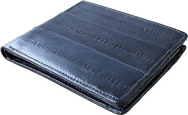 Black Genuine Eel Skin Leather Billfold Wallet Men/'s Standard Purse
