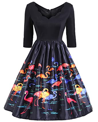 ZAFUL Women 50s Vintage V Neck Flamingo Print Dress Half Sleeve Patchwork Party A Line Swing