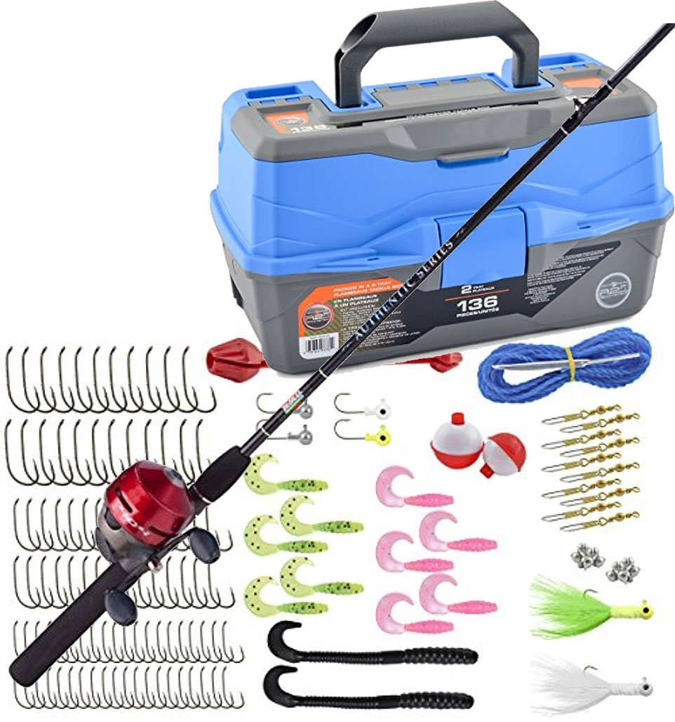 Bundle Includes Zebco Fishing 404 Spincast Combo and Ready 2 Fish Tackle Box - 2 Tray