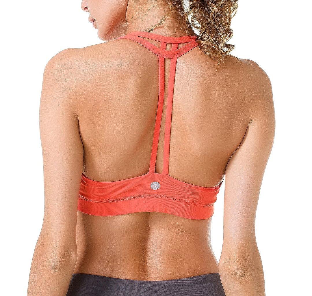 Queenie Ke Damen leichte Unterstützung Doppel-T Rücken Kabellose Pad Yoga BH TRT16018BRA