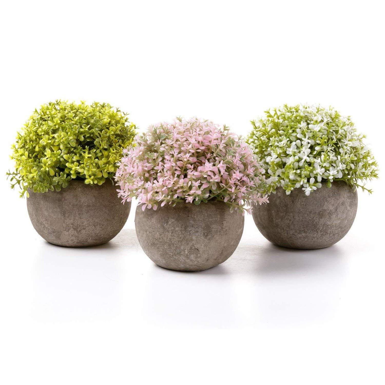 T4U Plantas Artificiales Plásticas Flor Decorativa en Maceta Oficina en Casa Paquete de 3 product image