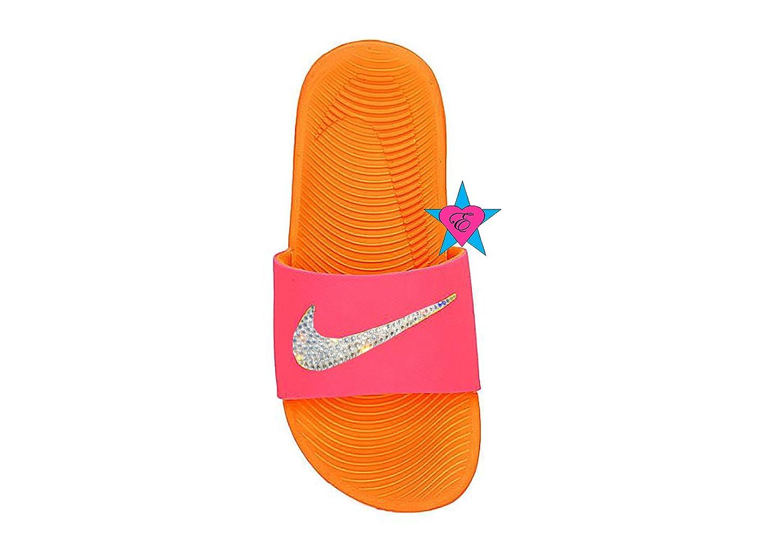 e2cde1a5153f Amazon.com  Bedazzled Glitter Orange Punch NIKE GIRLS KAWA SLIDE  Handmade