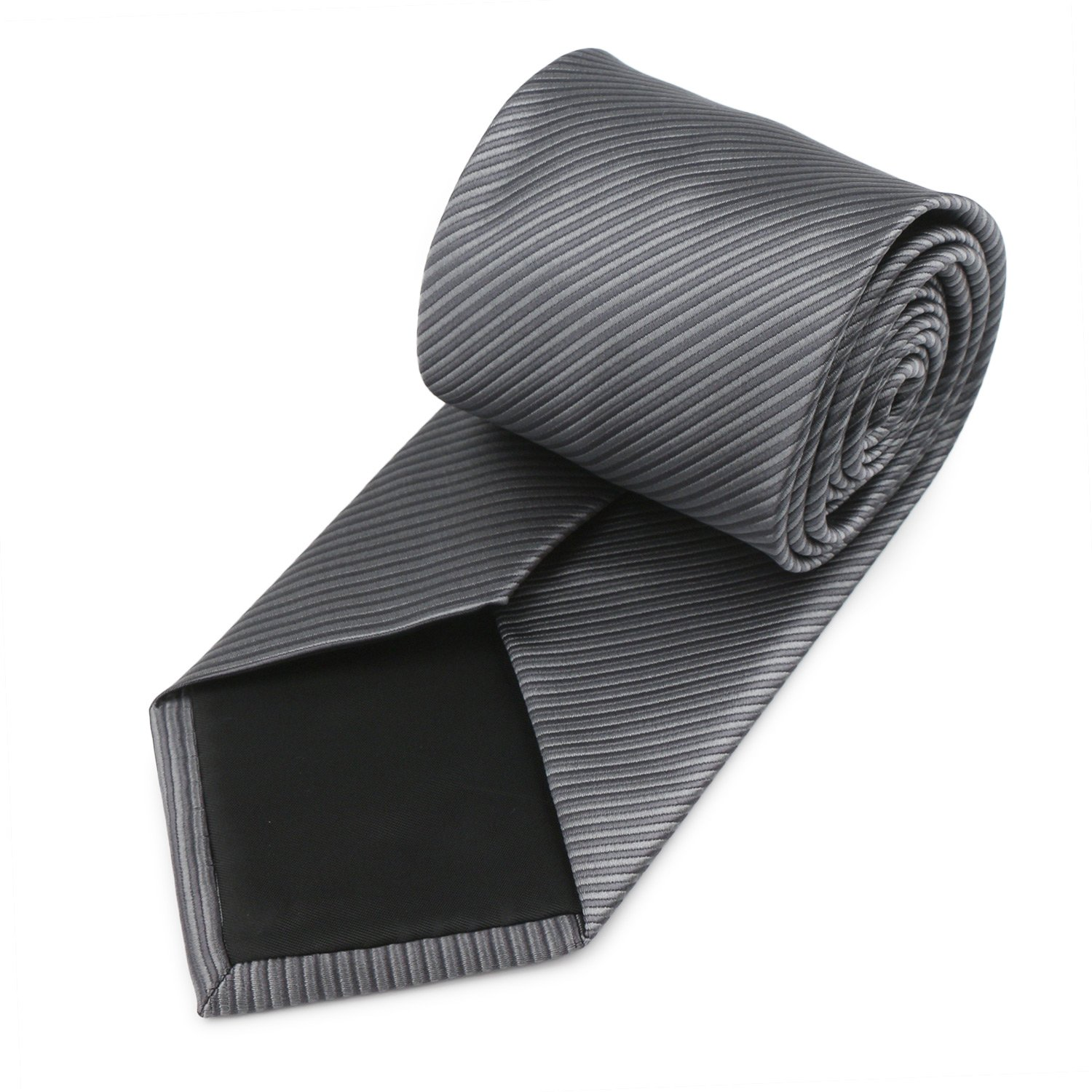 Mens Necktie Classic Striped Neckties, 54'' Long Polyester Solid Grey Neck Tie, Seasonless Formal Casual Business Necktie by Segbeauty (Image #8)