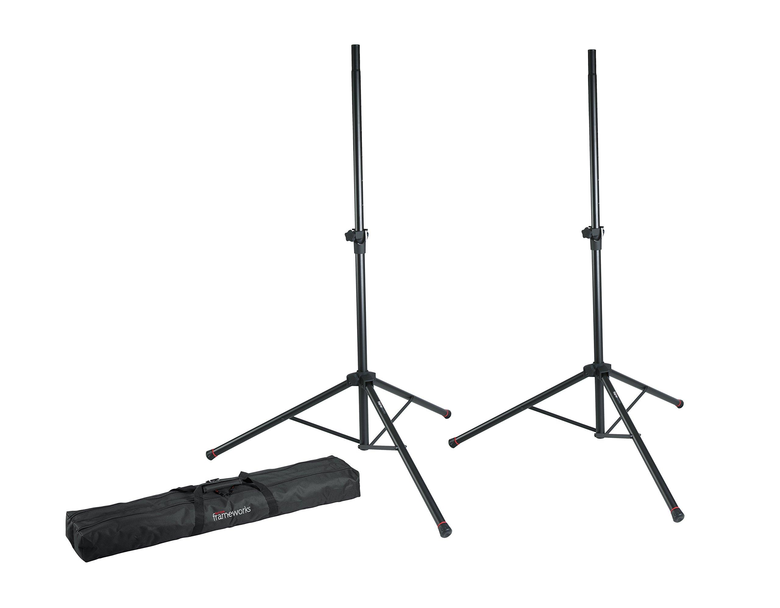 Gator Frameworks Standard Speaker Stand Set; Includes (2) Speaker Stands and Nylon Carry Bag (GFW-SPK-2000SET)