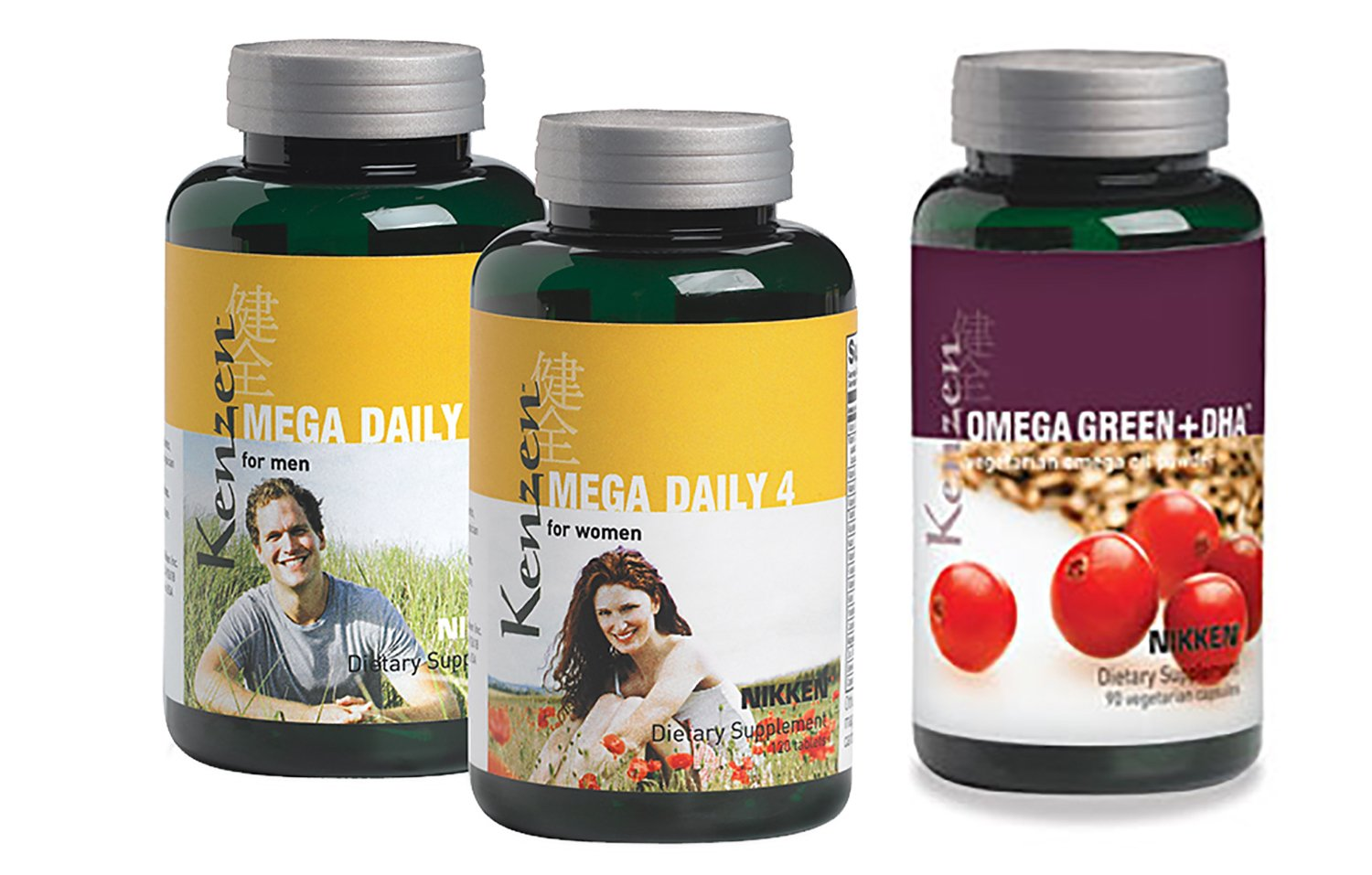 Nikken Kenzen Mega Daily 4  and Omega Green + DHA, Help Support a Healthy Prostate, and Support Healthy Heart, Brain, Nerve and Eye Function (Men)