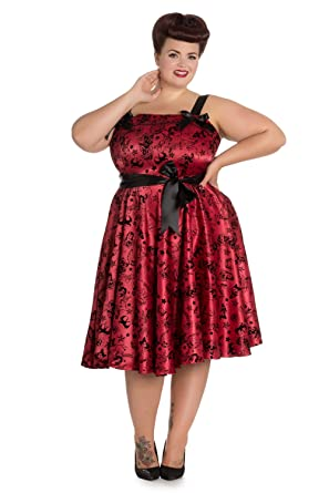 Plus Size Bloody Marry Red Rockabilly Gothic Velvet Tattoo Art Flocked Party Dress (XXX-