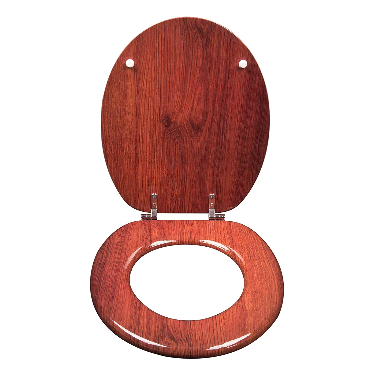 WOLTU Wooden Heavy Duty Toilet Seat Adjustanle Hinge Toilet Lid Cover with Fittings and Fixtures Universal Commercial Pans Seat for Bathroom