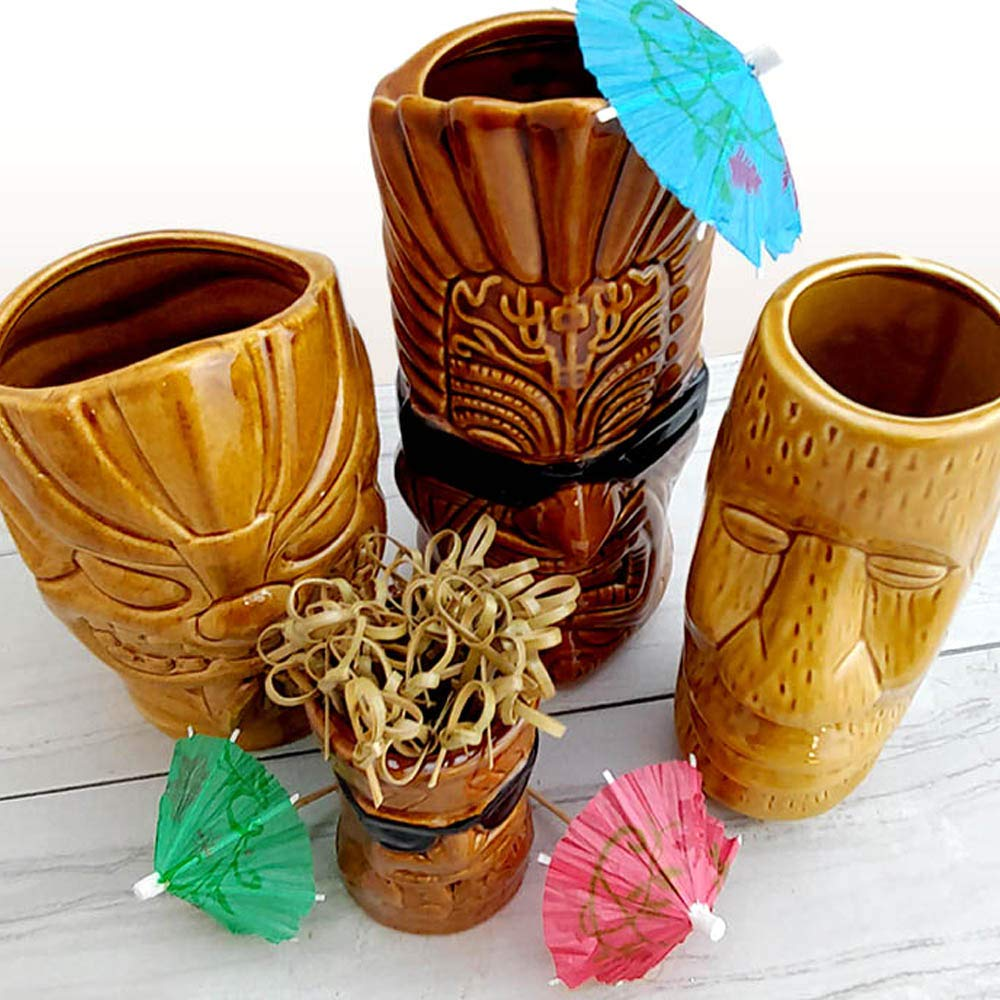 BarConic Tiki Mugs Drinkware Package 1 - Set of 4