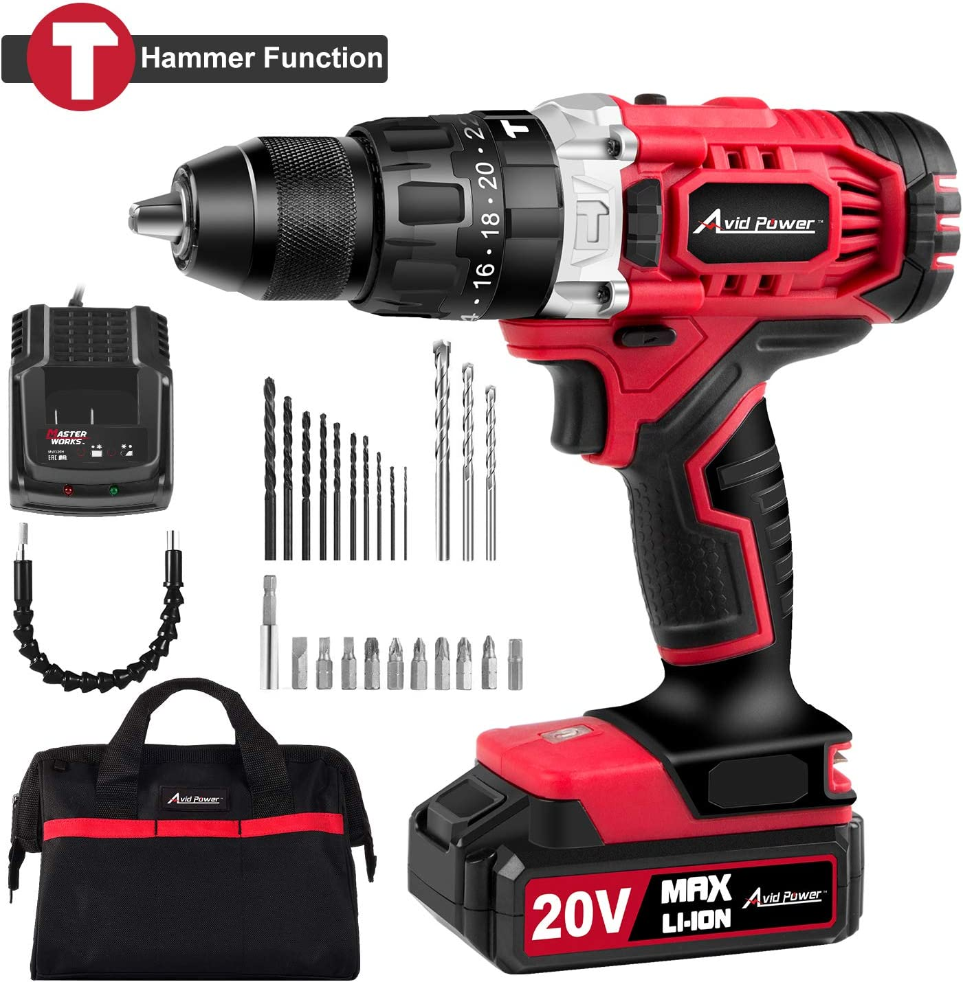 20V Max Lithium-Ion Cordless Hammer Drill Driver, 1 2 Keyless Chuck, Max Torque 405 in-lbs 2-Speed, 1 Hour Fast Charger, 20 1 Position, LED Light, 25pcs Accessories, MW326H