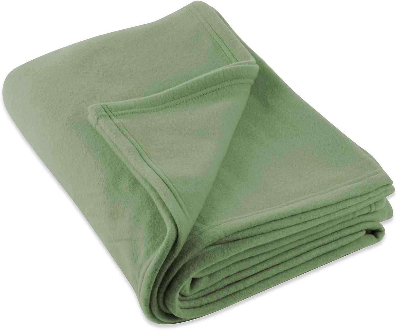 DII Luxury Fleece Blanket, Full/Queen, Olive Green