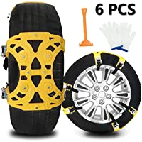 $46 » Buyplus Upgrade Snow Chains for Cars - 6 Set Emergency Anti Slip Tire Straps, Car Snow Chain…